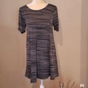 LoveRiche black grey open back tie neck dress
